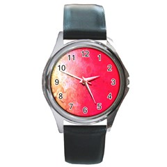 Abstract Red And Gold Ink Blot Gradient Round Metal Watch by Amaryn4rt