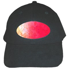 Abstract Red And Gold Ink Blot Gradient Black Cap by Amaryn4rt
