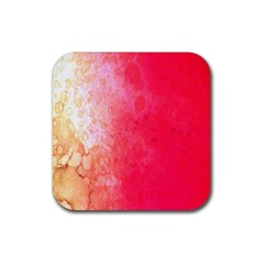 Abstract Red And Gold Ink Blot Gradient Rubber Coaster (square)  by Amaryn4rt