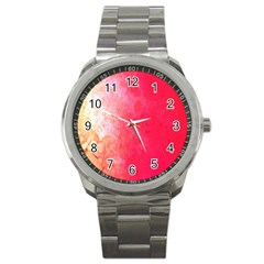 Abstract Red And Gold Ink Blot Gradient Sport Metal Watch by Amaryn4rt