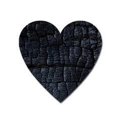 Black Burnt Wood Texture Heart Magnet by Amaryn4rt