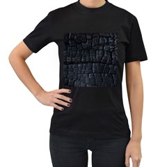 Black Burnt Wood Texture Women s T Shirt (black) (two Sided) by Amaryn4rt
