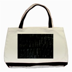 Black Burnt Wood Texture Basic Tote Bag by Amaryn4rt