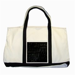 Black Burnt Wood Texture Two Tone Tote Bag by Amaryn4rt