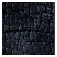 Black Burnt Wood Texture Large Satin Scarf (square) by Amaryn4rt