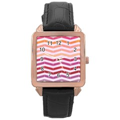 Abstract Vintage Lines Rose Gold Leather Watch  by Amaryn4rt