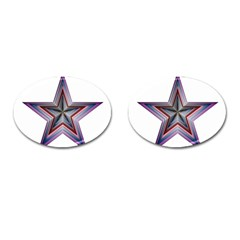 Star Abstract Geometric Art Cufflinks (Oval)