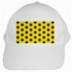 Yellow Fractal In Kaleidoscope White Cap by Amaryn4rt