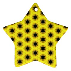 Yellow Fractal In Kaleidoscope Ornament (star)