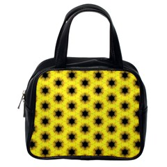 Yellow Fractal In Kaleidoscope Classic Handbags (one Side)