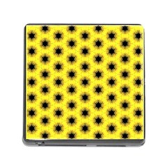 Yellow Fractal In Kaleidoscope Memory Card Reader (square) by Amaryn4rt