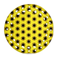 Yellow Fractal In Kaleidoscope Round Filigree Ornament (two Sides) by Amaryn4rt