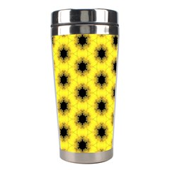 Yellow Fractal In Kaleidoscope Stainless Steel Travel Tumblers by Amaryn4rt