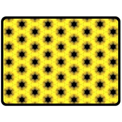 Yellow Fractal In Kaleidoscope Double Sided Fleece Blanket (large)