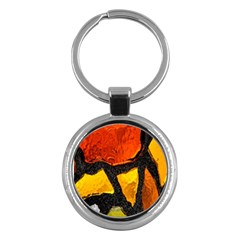 Colorful Glass Mosaic Art And Abstract Wall Background Key Chains (round)  by Amaryn4rt