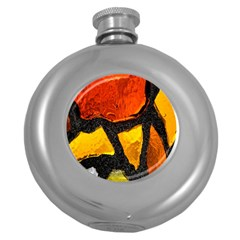 Colorful Glass Mosaic Art And Abstract Wall Background Round Hip Flask (5 Oz) by Amaryn4rt