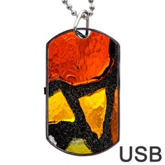 Colorful Glass Mosaic Art And Abstract Wall Background Dog Tag Usb Flash (one Side) by Amaryn4rt