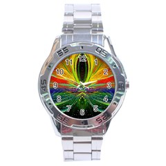 Future Abstract Desktop Wallpaper Stainless Steel Analogue Watch by Amaryn4rt