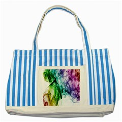 Colour Smoke Rainbow Color Design Striped Blue Tote Bag by Amaryn4rt