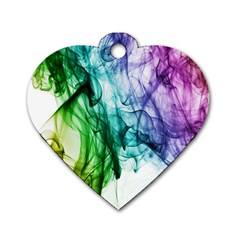 Colour Smoke Rainbow Color Design Dog Tag Heart (two Sides) by Amaryn4rt