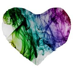 Colour Smoke Rainbow Color Design Large 19  Premium Heart Shape Cushions by Amaryn4rt