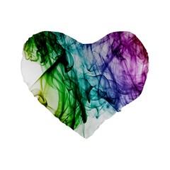 Colour Smoke Rainbow Color Design Standard 16  Premium Flano Heart Shape Cushions by Amaryn4rt