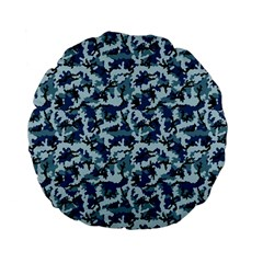 Navy Camouflage Standard 15  Premium Flano Round Cushions by sifis