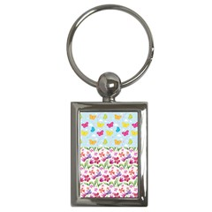 Watercolor Flowers And Butterflies Pattern Key Chains (rectangle)  by TastefulDesigns