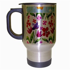 Watercolor Flowers And Butterflies Pattern Travel Mug (silver Gray) by TastefulDesigns