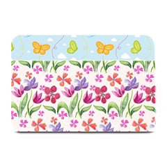 Watercolor Flowers And Butterflies Pattern Plate Mats by TastefulDesigns