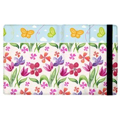 Watercolor Flowers And Butterflies Pattern Apple Ipad 2 Flip Case by TastefulDesigns