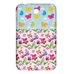 Watercolor Flowers And Butterflies Pattern Samsung Galaxy Tab 3 (7 ) P3200 Hardshell Case  by TastefulDesigns