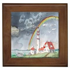 Watercolour Lighthouse Rainbow Framed Tiles by Amaryn4rt