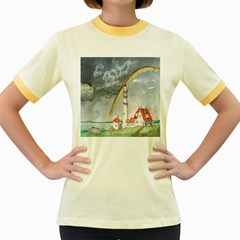 Watercolour Lighthouse Rainbow Women s Fitted Ringer T Shirts by Amaryn4rt