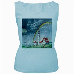 Watercolour Lighthouse Rainbow Women s Baby Blue Tank Top by Amaryn4rt