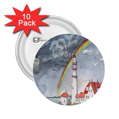 Watercolour Lighthouse Rainbow 2 25  Buttons (10 Pack)  by Amaryn4rt
