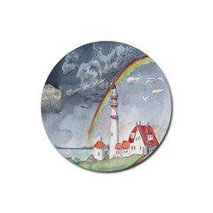 Watercolour Lighthouse Rainbow Rubber Round Coaster (4 Pack)  by Amaryn4rt