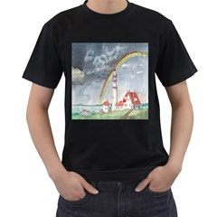 Watercolour Lighthouse Rainbow Men s T Shirt (black) (two Sided) by Amaryn4rt