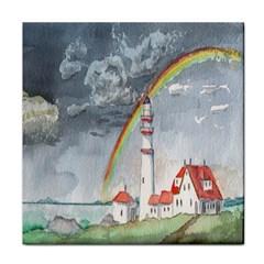 Watercolour Lighthouse Rainbow Face Towel by Amaryn4rt