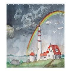 Watercolour Lighthouse Rainbow Shower Curtain 66  X 72  (large)  by Amaryn4rt