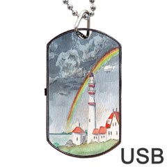 Watercolour Lighthouse Rainbow Dog Tag Usb Flash (two Sides) by Amaryn4rt