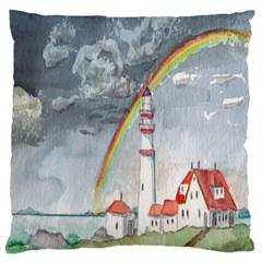 Watercolour Lighthouse Rainbow Large Cushion Case (one Side) by Amaryn4rt