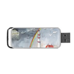 Watercolour Lighthouse Rainbow Portable Usb Flash (two Sides) by Amaryn4rt
