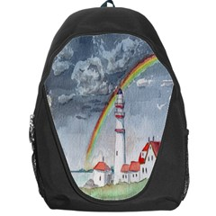 Watercolour Lighthouse Rainbow Backpack Bag by Amaryn4rt