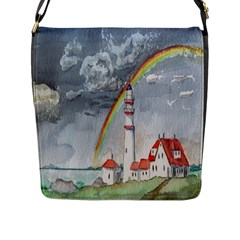 Watercolour Lighthouse Rainbow Flap Messenger Bag (l)  by Amaryn4rt