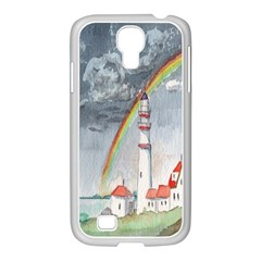 Watercolour Lighthouse Rainbow Samsung Galaxy S4 I9500/ I9505 Case (white) by Amaryn4rt