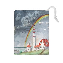 Watercolour Lighthouse Rainbow Drawstring Pouches (large)  by Amaryn4rt