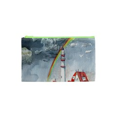 Watercolour Lighthouse Rainbow Cosmetic Bag (xs) by Amaryn4rt