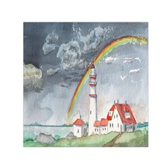 Watercolour Lighthouse Rainbow Small Satin Scarf (square) by Amaryn4rt