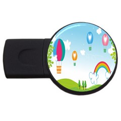 Landscape Sky Rainbow Garden Usb Flash Drive Round (2 Gb) by Amaryn4rt